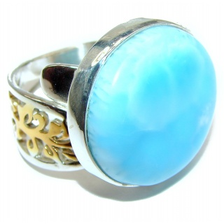 Vintage Design Natural Larimar .925 Sterling Silver handcrafted Ring s. 7 adjustable