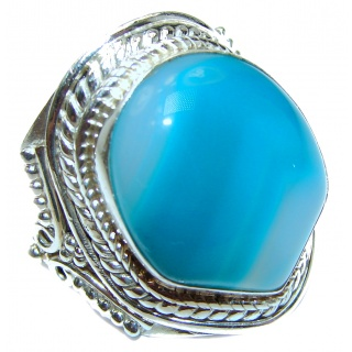 Huge Exotic Agate Sterling Silver Ring s. 9