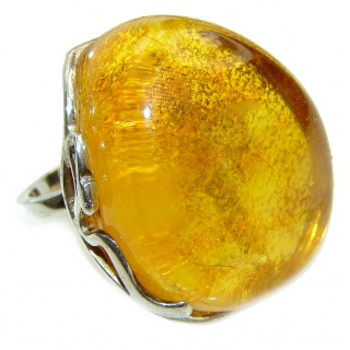 Excellent Vintage Design Baltic Amber .925 Sterling Silver handcrafted Ring s. 8 adjustable