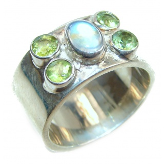 Energizing Moonstone .925 Sterling Silver handmade Ring size 8