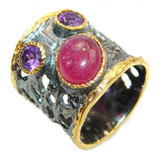 Genuine Ruby 18K Gold .925 Sterling Silver handcrafted Statement Ring size 7