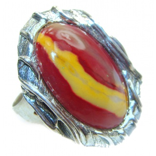 Huge Boho style Mookaite .925 Sterling Silver handmade ring size 8 adjustable