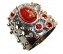 Large Genuine 5ctw Ruby black rhodium over  .925 Sterling Silver handcrafted  Statement Ring size  8 3/4