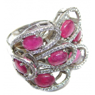 Royal quality Authentic Ruby White Topaz .925 Sterling Silver Statement ring size 7 3/4