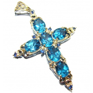 Victorian Style Holy Cross genuine London Blue Topaz 24K Gold over .925 Sterling Silver handmade pendant
