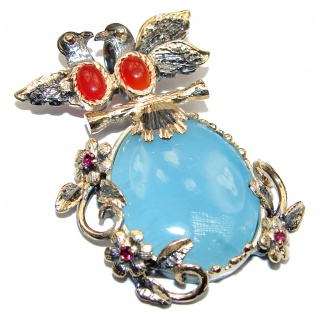 Cute Two Love Birds Genuine Aquamarine 18K Gold over .925 Sterling Silver handmade Pendant
