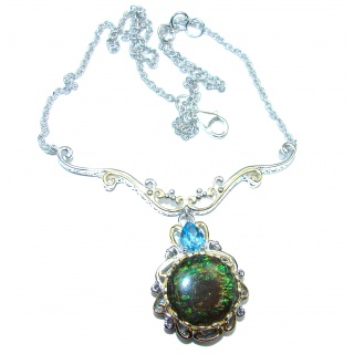 Natural Canadian Ammolite 18K Gold over .925 Sterling Silver handmade necklace