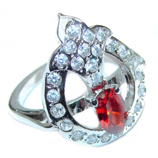 Golden Cubic Zirconia .925 Sterling Silver handmade Ring s. 7 1/4