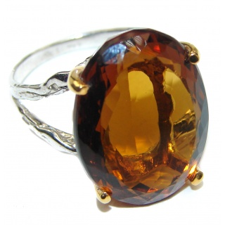 Champagne Smoky Topaz 14K Gold over .925 Sterling Silver Ring size 8
