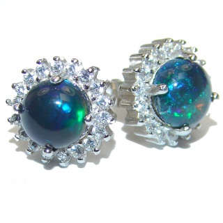 Classy Design authentic Black Opal .925 Sterling Silver handcrafted earrings