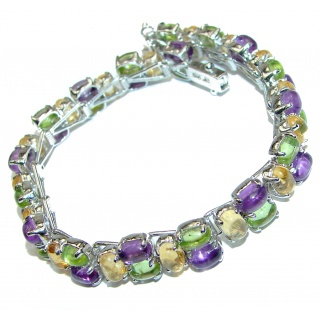 Real Treasure genuine Multigem .925 Sterling Silver handcrafted Bracelet