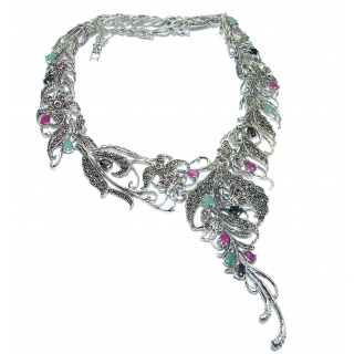 Alessandra Large authentic Kashmire Ruby Emerald .925 Sterling Silver handcrafted Statement necklace