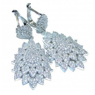 Classy Beauty White Topaz .925 Sterling Silver handcrafted earrings