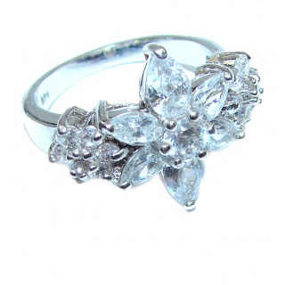 Fancy White Topaz .925 Sterling Silver handmade Ring s. 7 1/4