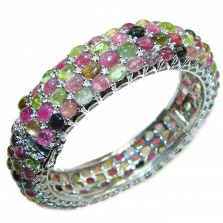 Luxury 312ctw (total carat weight) authentic Brazilian Watermelon Tourmaline .925 Sterling Silver handmade Bracelet