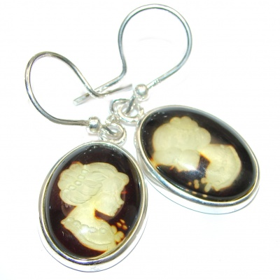 Back in time Genuine carved Baltic Polish Amber Sterling Silver handmade Cameo Earrings