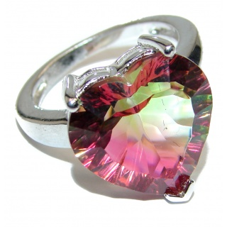 Spectacular Natural Tourmaline .925 Sterling Silver handcrafted ring size 6 3/4