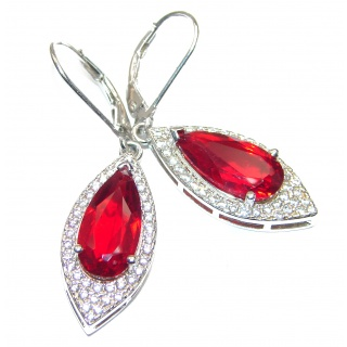 Amazing authentic Red Helenite .925 Sterling Silver earrings