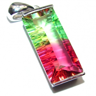 Deluxe Emerald cut Tourmaline .925 Sterling Silver handmade Pendant