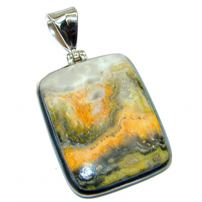 Authentic Volcanic Bubble Bee Jasper .925 Sterling Silver handmade Pendant