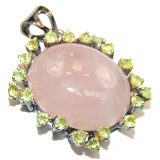 Authentic Rose Quartz Ruby 14K Rose Gold over .925 Sterling Silver Pendant