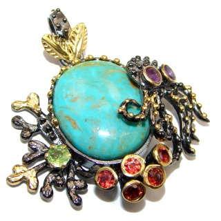 Octopus Genuine Turquoise 18K Gold over .925 Sterling Silver handcrafted Pendant