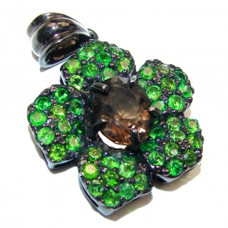Carmen Beauty Smoky Topaz Chrome Diopside black rhodium over .925 Sterling Silver handmade Pendant