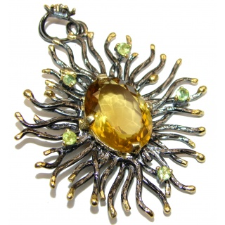 Royal quality genuine 25ctw Citrine 18K Gold over .925 Sterling Silver handcrafted Pendant