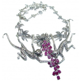 Playing Monkey Kashmir Ruby Marcasite .925 Sterling Silver handcrafted Necklace