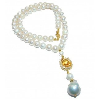 Francesca Pearl Mother of Pearl 14K Gold over .925 Sterling Silver handmade Necklace