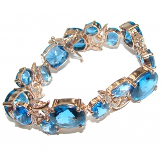 Valentina Authentic Blue Topaz 18K Gold over .925 Sterling Silver handcrafted Bracelet
