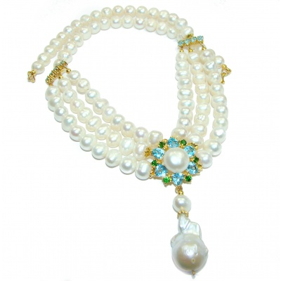 Trilliant Swiss Blue Topaz Pearl Mother of Pearl 14K Gold over .925 Sterling Silver handmade Necklace