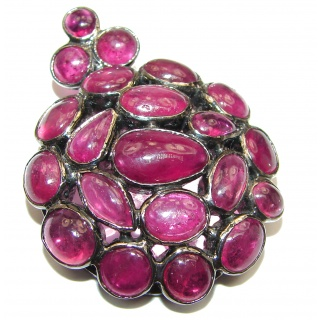 Large genuine Kashmir Ruby black Rhodium over .925 Sterling Silver handmade Pendant - Pin