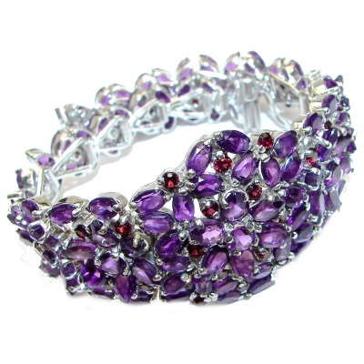 Royal quality Authentic Amethyst .925 Sterling Silver handcrafted Bracelet