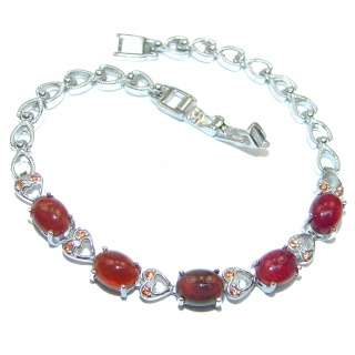 Authentic Red Ruby 18K Gold over .925 Sterling Silver handcrafted Bracelet