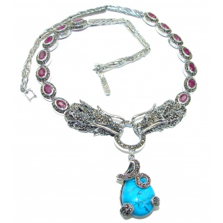 Two Dragons Gallery Masterpiece Blue genuine Turquoise .925 Sterling Silver necklace