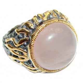 Genuine 36ctw Rose Quartz .925 Sterling Silver handcrafted Statement Ring size 7