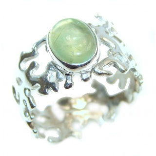 Green Reef Prehnite .925 Sterling Silver Ring size 8 adjustable