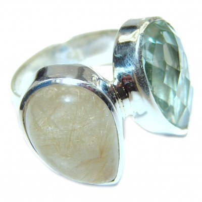 Spectacular Natural Green Amethyst .925 Sterling Silver handcrafted ring size 8 adjustable