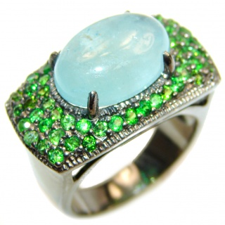 Genuine Aquamarine Tsavorite Garnet Rhodium over .925 Sterling Silver handmade Cocktail Ring s. 8
