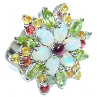 1000 STARS Ethiopian Opal .925 Sterling Silver handcrafted ring size 9