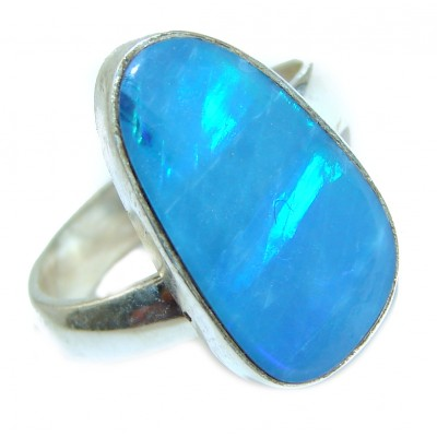 Australian Doublet Opal .925 Sterling Silver handcrafted ring size 7 adjustable