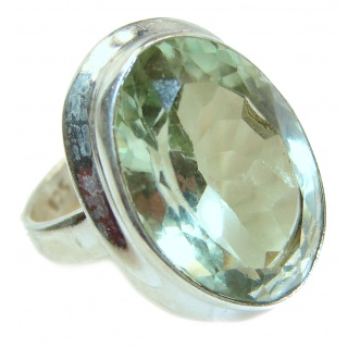 Spectacular Natural Green Amethyst .925 Sterling Silver handcrafted ring size 6