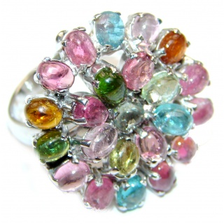 Brazilian Beauty Tourmaline .925 Sterling Silver handcrafted Statement LARGE Ring size 8 1/4