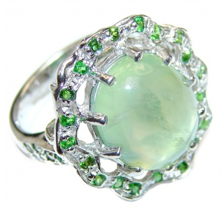 Natural Prehnite Tourmaline .925 Sterling Silver handmade ring s. 7 3/4