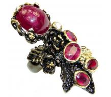 Large Genuine Kashmir Ruby black rhodium over .925 Sterling Silver handcrafted  Statement Ring size  8 adjustable
