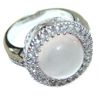 Sublime Authentic Rose Quartz .925 Sterling Silver handcrafted ring s. 6 1/4