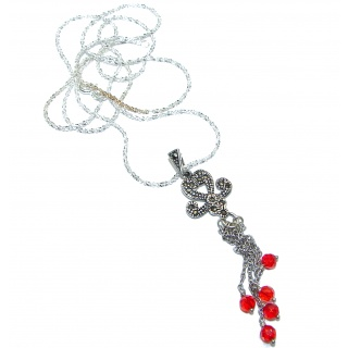 Posh Red Quartz .925 Sterling Silver necklace