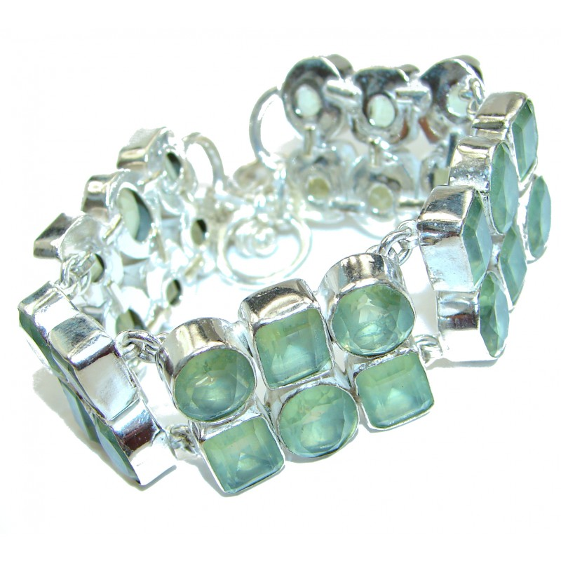 Large Exclusive Green Quartz Sterling Silver handcrafted Bracelet