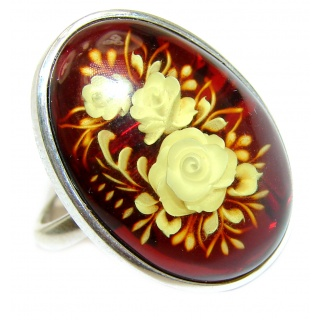 Nature inspired Authentic carved Baltic Amber .925 Sterling Silver handcrafted ring; s. 7 adjustable